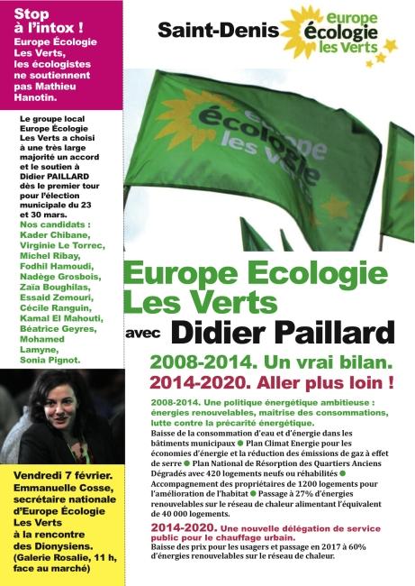 Europe Ecologie Les Verts avec Didier Paillard.