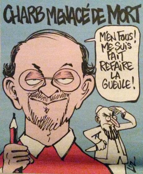 Charb:Rushdie par Luz